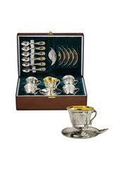Silver Coffee Set, 6 People,  Sterling Silver 925,  Cups,  Gold 24carat